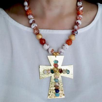 Handmade Agate stone necklace with ..