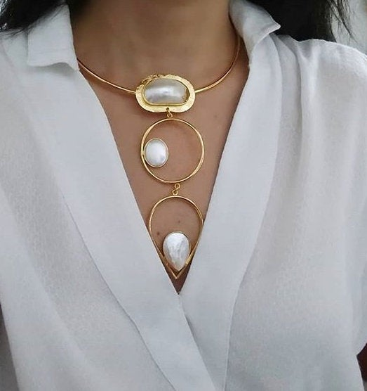 Handmade Shell Pearl Necklace and Earrings 24 K Gold Plated