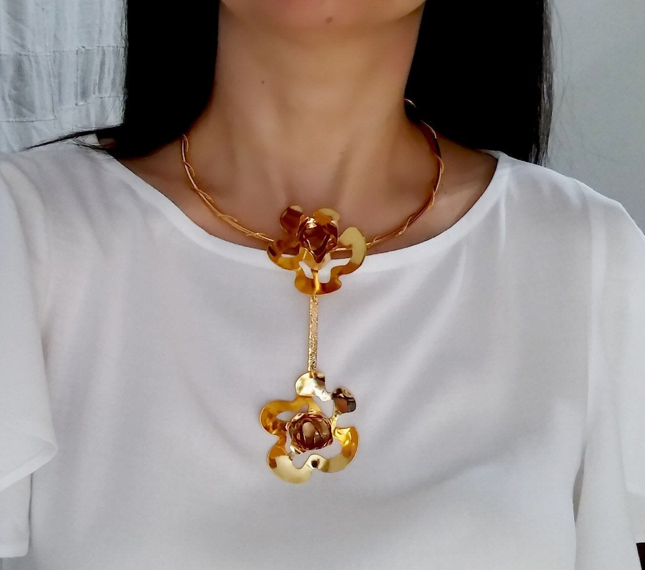 Unique handmade necklace in bronze double gold plated in 24k gold