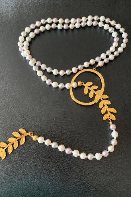 Handmade Shell Pearls Necklace 24 K Gold Plated - Earrings Included
