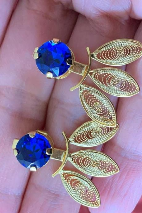 Handmade Filigree Ear Jacket Earrings 24k Gold Plated