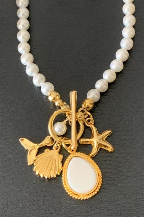 Handmade Shell Pearl Toggle Necklace 24K Gold Plated