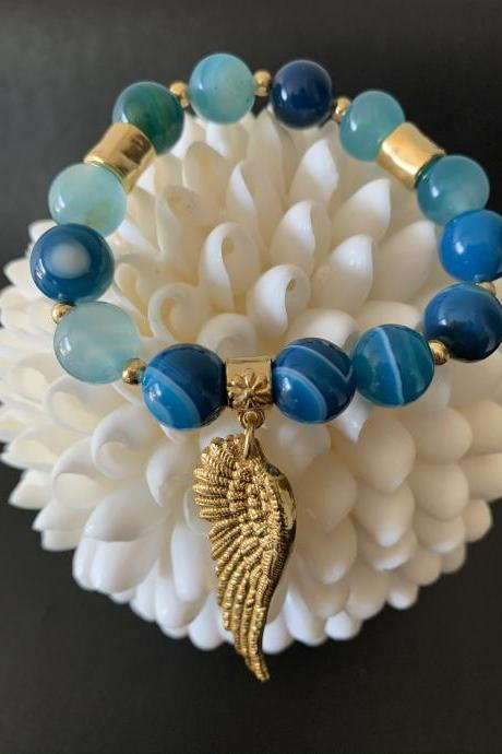 Handmade Natural Stone Angel Wing Bracelet 24K Gold Plated