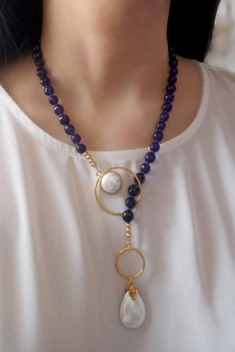 Handmade Blue Agates and Shell Pearls Necklace 24K Gold Plated