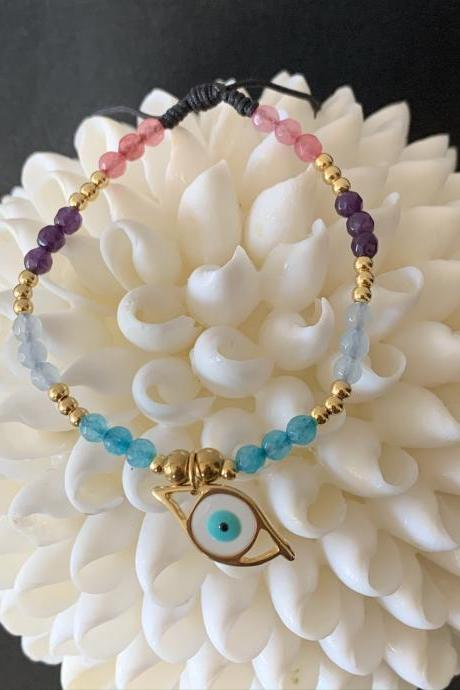 Handmade Natural Stone Evil Eye Bracelet 24K Gold filled