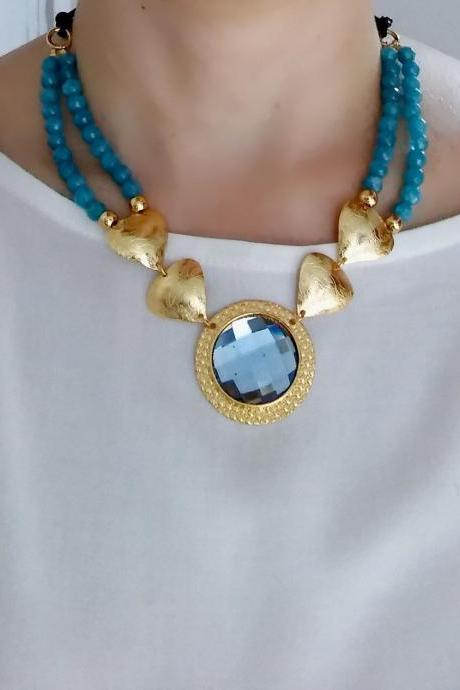 Blue Agate and crystals necklace set in bronze double gold plated in 24 k gold
