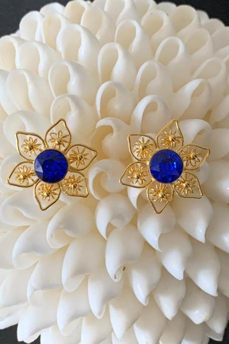 Handmade filigree earrings 24k gold plated blue Swarovski crystal