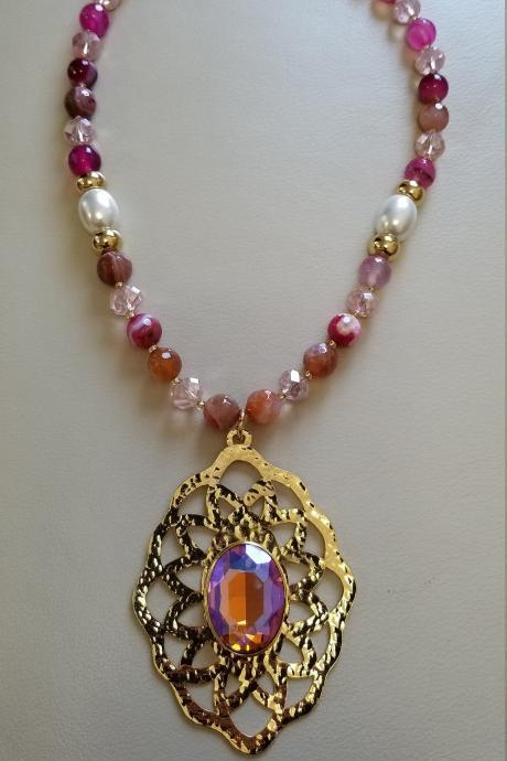 Handmade Pink agate and crystal pendant necklace