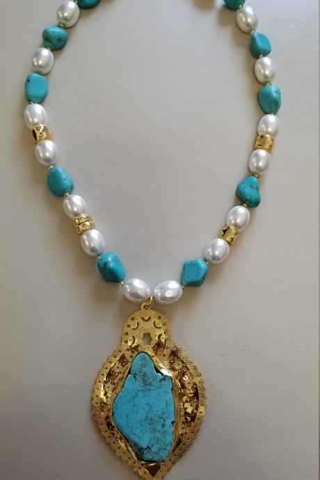 Handmade Turquoise Stone Pendant Necklace Gold plated in 24K gold